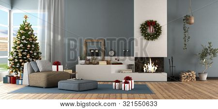 Modern Living Room With Christmas Tree And Fireplace - 3d Rendering