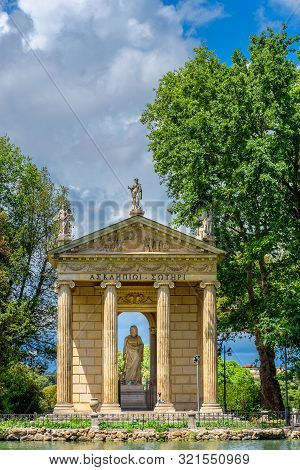 Temple Of Asclepius Or Tempio Di Esculapio At Park Of Villa Borghese In Rome