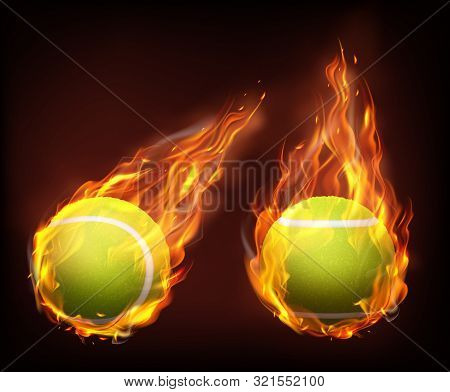 Tennis Balls Flying In Fire, Falling In Flames Side, Front View, Isolated 3d Realistic Vector Illust