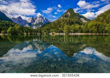 Wonderful Alpine Lake Of Jasna In Kranjska Gora, A Good Leisure Spot For Tourists, Slovenia