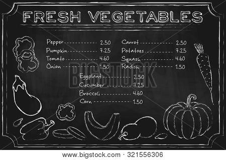 Blackboard Vegetables. Rustic Blackboard Menu With Hand Drawn Vegetables On Chalkboard. Vector Chalk