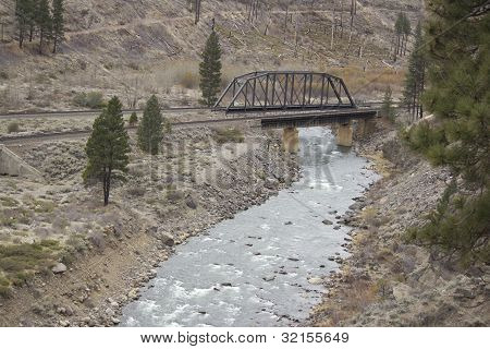 Railroad bridge over the Truckee rever in California