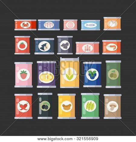 Vector Illustration Of Canned Goods. Canned Food Set For Shops, Tourism Or Food Design. Conserve Cul