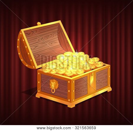 Open Dower Chest With Gold And Silver Coins. 3d View Of Box With Lock And Precious Sign, Brilliant A