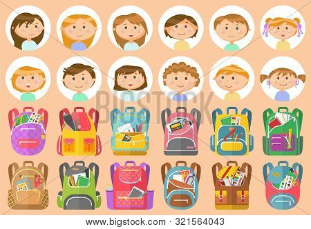 Backpacks Or Schoolbags With Stationery, School Children Avatars. Rucksacks With Books, Girls And Bo