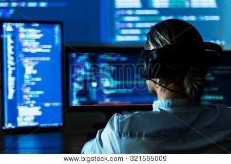 Software Developer Freelancer Man Male In Headphones Work With Program Code C++ Java Javascript On W