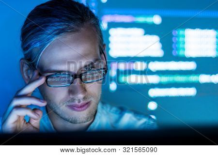 Software Developer Freelancer With Code Reflection In Glass Work With Program Code C++ Java Javascri