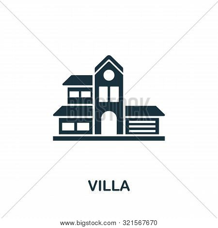 Villa Vector Icon Symbol. Creative Sign From Buildings Icons Collection. Filled Flat Villa Icon For