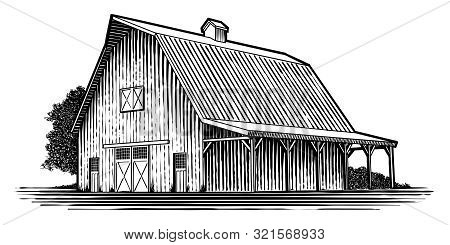 Woodcut-style Illustration Of An Old Wooden Barn.