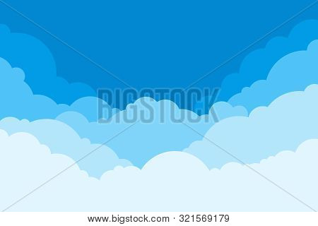 Blue Sky With Clouds. Cartoon Background. Bright Illustration For Design. Kids Cloud Background. Vec