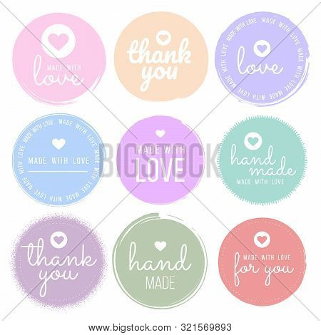 Set Labels And Bages For Sellers Including Thank You, Handmade, Made With Love And For You Labels. V