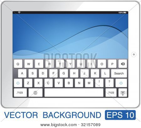 vector illustration white touch-pad with keyboard
