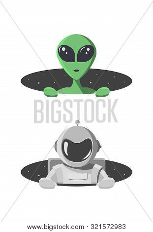 Alien And Cosmonaut Climbs Out From The Hole Of Space With Stars. Extraterrestrial And Astronaut Loo