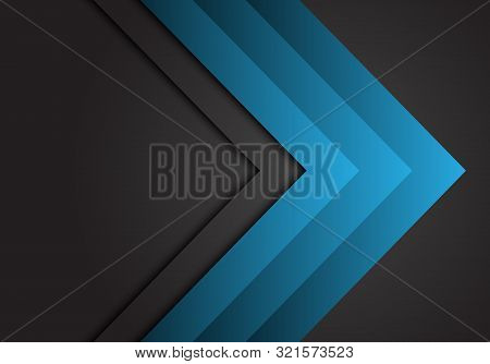 Abstract Blue Arrow Steel Direction On Dark Grey Design Modern Futuristic Background Vector.