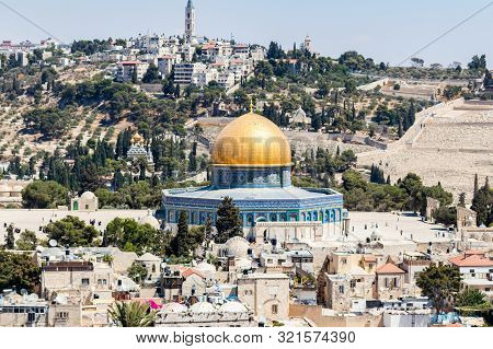 Jerusalem, Israel, September 07, 2019 : View Of The Dome Of The Rock From The Bell Tower Of The Luth