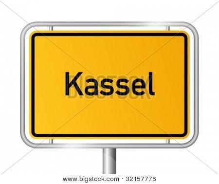 City limit sign KASSEL against white background - Hesse, Hessen, Germany