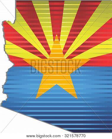 Shiny Grunge Map Of The Arizona - Illustration,  Three Dimensional Map Of Arizona