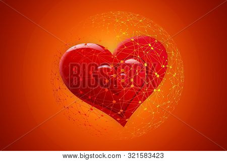 Red Heart In The Internet Web On An Orange Background For Online Dating In Social Networks.