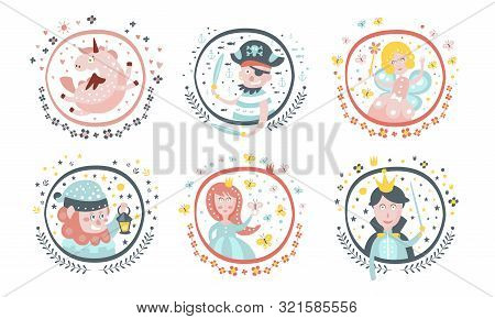 Cute Childish Fairy Tale Cartoon Characters Set, Adorable Unicorn, Fairy, Pirate, Gnome, Sorceress,