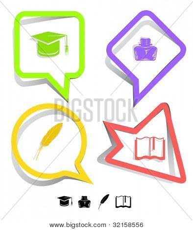 Education icon set. Graduation cap, book, inkstand, feather. Paper stickers. Raster illustration.