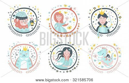 Cute Childish Fairy Tale Cartoon Characters Set, Gnome, Princess, Sorceress, Cat, Fairy, Dragon, Dec