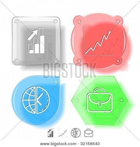 Business icon set. Briefcase, globe and clock, diagram. Glass buttons. Raster illustration. poster