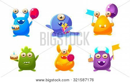 Collection Of Cute Funny Fantastic Monsters Cartoon Characters, Happy Mutants Celebrating Birthday P