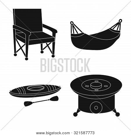 Vector Illustration Of Barbeque And Rest Icon. Set Of Barbeque And Nature Stock Symbol For Web.