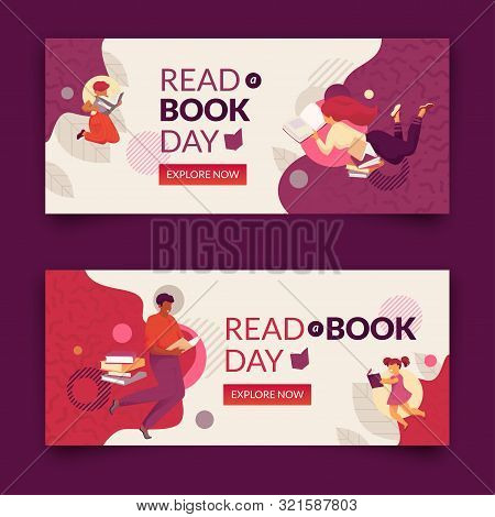 Read A Book Day Banner Set. Modern Flat And Simple Design Illustration With Faceless Smiling Family