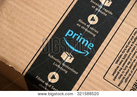 Warsaw, Poland - August 23, 2019: Amazon Prime Online Store Order Delivered Package In Europe. Amazo