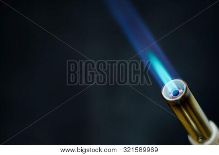 Gas Flame Gun Torch Blue Fire Butane White Background