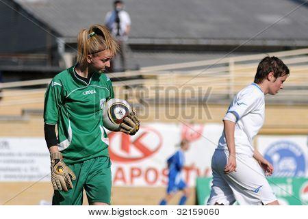 KAPOSVAR, HUNGARY - APRIL 20: Eszter Papp (goalkeeper) in action at Hungarian Cup Final women soccer game  MTK (blue) vs. Viktoria FC (white) April 20, 2011 in Kaposvar, Hungary.