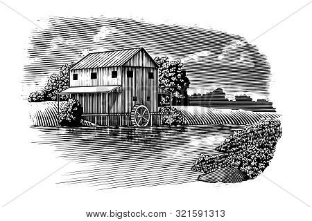 Woodcut-style Illustration Of A Mill With A River Flowing By.