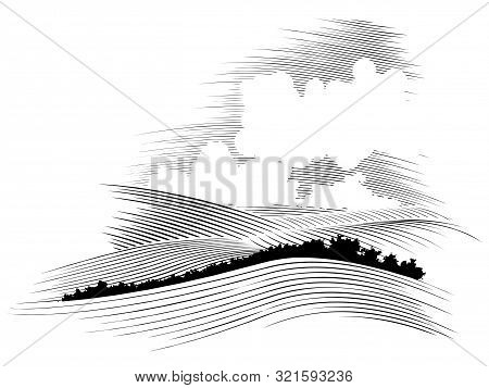 Woodcut Style Illustration Of Rolling Hills With Clouds In The Background.