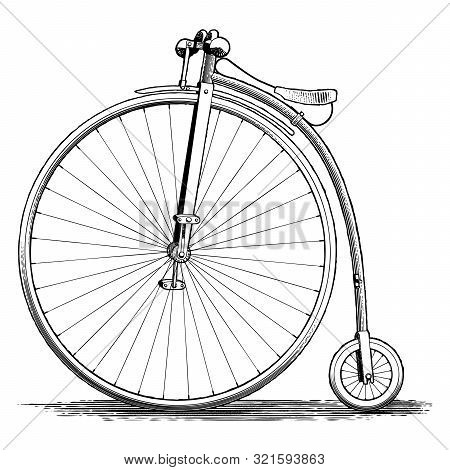 Woodcut Illustration Of A Vintage Penny-farthing Bicycle.