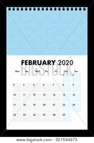 A Blue February 2020 Calendar With Wire Bind
