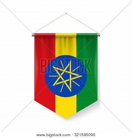 Vertical Pennant Flag Of Ethiopia As Icon On White With Shadow Effects. Patriotic Sign In Official C