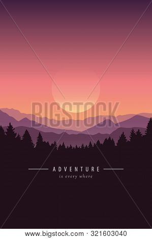 Adventure Purple Mountain Landscape Background Vector Illustration Eps10