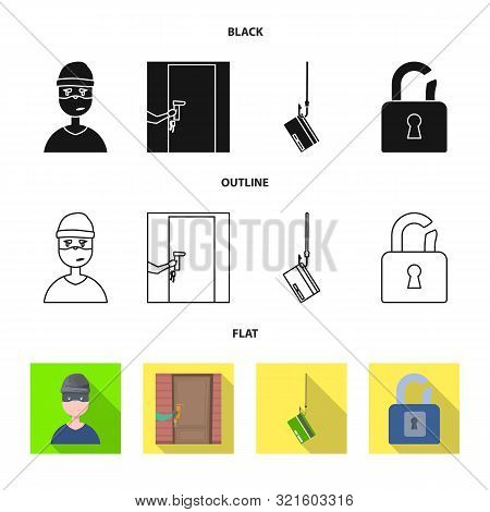 Isolated Object Of Crime And Steal Logo. Set Of Crime And Villain Vector Icon For Stock.