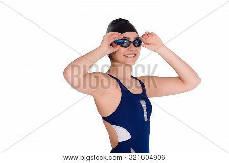 Portrait Of Swimmer Girl In Swimsuit.
