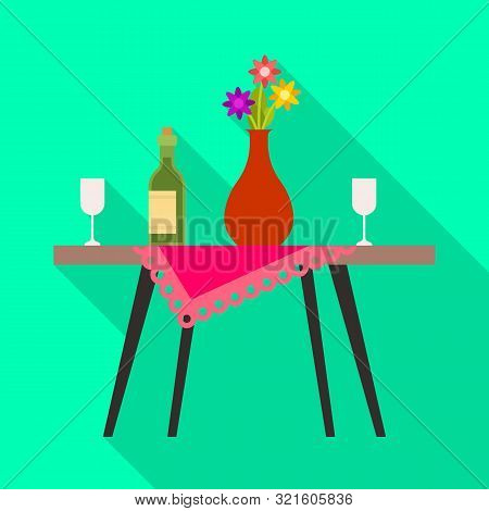 Vector Illustration Of Table And Vase Sign. Set Of Table And Diner Stock Symbol For Web.