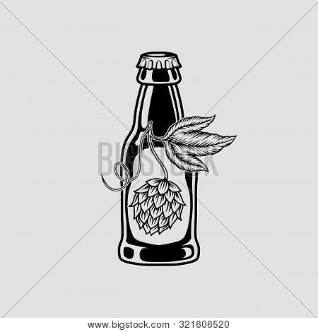 Beer And Hops Monochrome Isolated Icon. Vector Illustration Of Eps10.