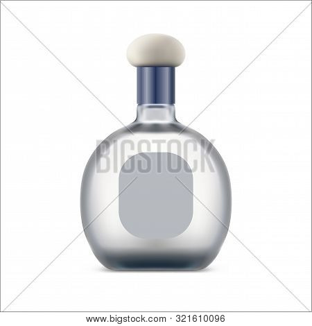 Tequila Bottle With Blank Label. Mexican Drink In Glassware Lid. Silver Or White Beverage With Clear