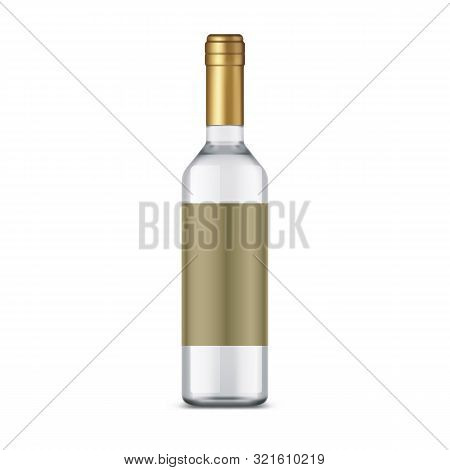 Isolated Bottle Of Vodka With Empty Label, Silver Alcohol Beverage In Glassware Jar. White Russian O