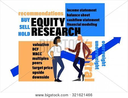 Equity Research Concept. Teamwork On Stock Market Illustration. Hand Drawn Business People, Market T