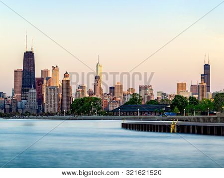 Chicago Skyline And Lakefront View Of Tallest Buildings Landmarks. Lake Michigan, Illinois.