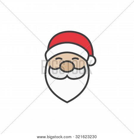 Santa Claus Icon In Flat Style Isolated On White Background.