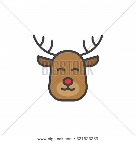 Christmas Deer Icon In Flat Style Isolated On White Background.