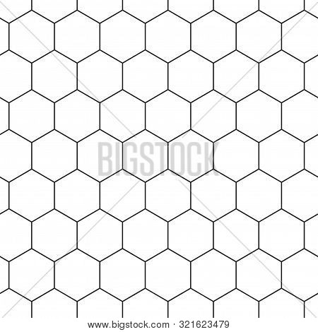 Geometric Seamless Pattern With Hexagons, Black And White Tile. Honeycomb Background. Outline Design