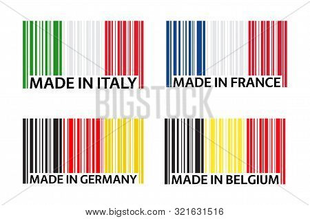 Set Of Four Bar Code Symbols Made In Italy, Made In France, Made In Germany And Made In Belgium, Sim